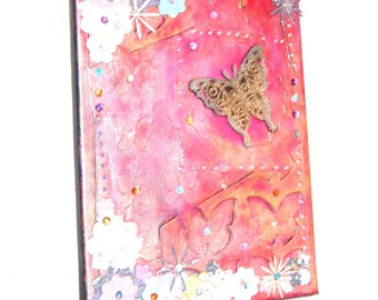 Pink canvas with gold butterfly mixed media 1