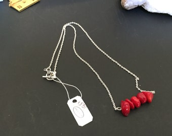 Sterling Silver and Red Coral Bar Necklace