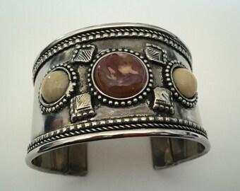 Vintage Natural Gemstone Cuff Bracelet