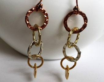 Long Mixed Metal Dangle earrings