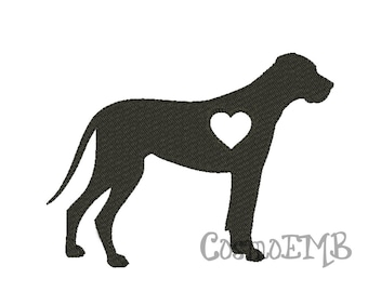 8 Size Great Dane silhouette Embroidery design Machine Embroidery - Digital INSTANT DOWNLOAD
