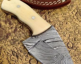 "On Sale~~~6"" Hand Forged Damascus Hunting Skinning Knife w Handmade Leather Sheath Bone Handle A190"