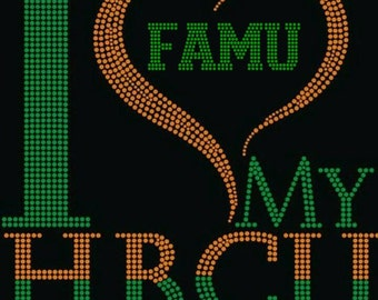 FAMU- Love My HBCU-Rhinestone Bling Tshirt-Florida A&M University Bling Shirt -All Sizes Available S to 3XL Fitted V-Neck Tshirts