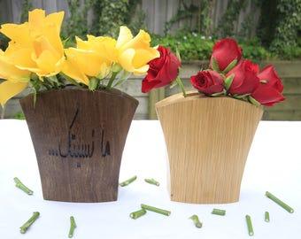Wooden Vase, Flower Holder, Oak Wood Vase, Walnut Wood Vase, Handmade Wooden Vase/مزهرية خشبية / تحف/ورود/خشب الجوز/فازا/حامل زهور/