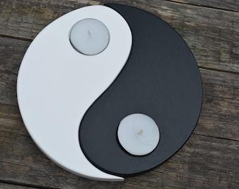 Wooden candle holder yin yang gift housewarming Yin yang candle holder black and white tealight holder plywood chinese symbol reclaimed wood