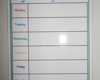 A4 Weekly Planner -  - Laminated 160 gsm card - Reusable - meal planner, family planner, weekly organiser.