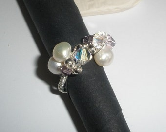freshwater pearl and crystal silver wirework ring, June Birthstone, Free UK Shipping
