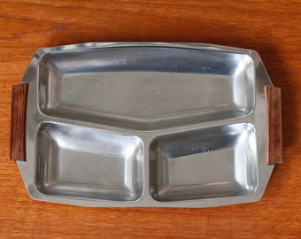 Stainless steel serving tray with wooden handles Hong Kong 18-8 vintage