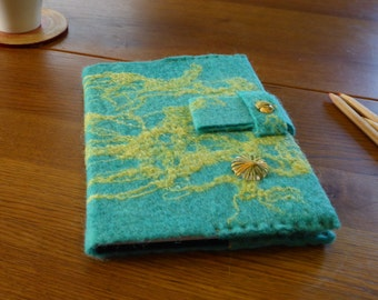 Book cover A5 format, handgevilt Merino Wool, silk, aqua blue yellow, incl. Note book, book cover, diary, guest book, gift, gift