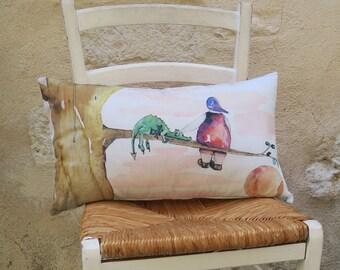 Cushion printed from original drawing watercolor