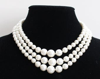 JBN # 8 Vintage Signed Japanese Three-Strand Necklace with Round Pearl-like Beads