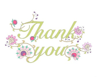 Thank You Floral Clip Art - Green Pink and Black and White Line Drawing