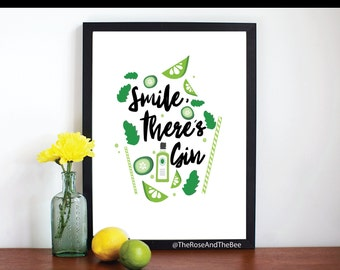 Smile, There's Gin - A5/A4 Typography Print