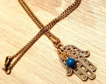 Gold Hamsa Necklace; Turquoise Beading,  Charm, Bridesmaid Gift, Christmas