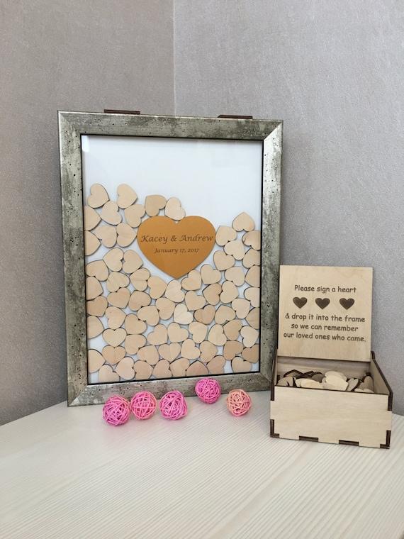 Wedding guest book,guest book,alternative drop box,vintage frme,drop top box,guest book hearts,memory heart box,drop top guest book,drop box