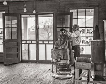 Hair Stylist Photo, Barber Shop Decor, Boy's Haircut, 1941, Black and White Print, Heard County Georgia