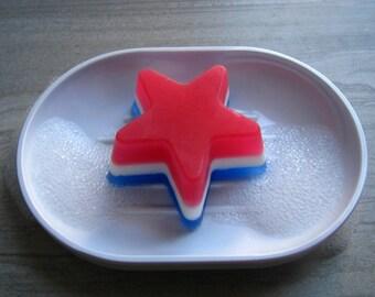 USA Star Soap, Red White Blue Soap, USA Star Favor, American Soap, Patriotic Gift, Glycerin Soap, Guest Novelty Soap, Decorative Soap (2 oz)