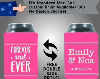 Forever and Ever Names Date Collapsible Fabric Wedding Cooler Double Side Print (W119)