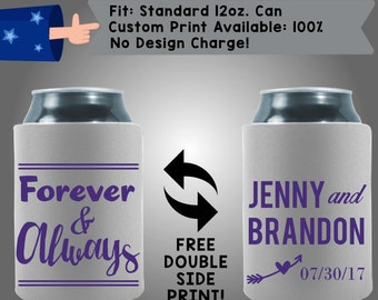 Forever & Always Names Date Collapsible Fabric Wedding Cooler Double Side Print (W166)