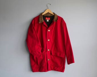 Vintage Red Canvas Workers Jacket | Vintage Marlboro Country Store Fishermans Coat | Size Large