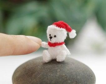 Miniature crochet bear - Tiny Christmas bear, Amigurumi tiny Animals, Dolls House Toys - Made to order
