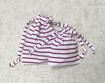red striped smallbags - 2 sizes - reusable cotton bags - zero waste