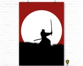 Samurai RED A0 OVERSIZE FORMAT Bushi Honor Japan digital illustration by Alexander Fechner