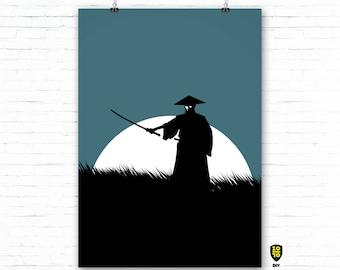 Ronin BLUE A0 OVERSIZE FORMAT Bushi Honor Japan digital illustration by Alexander Fechner