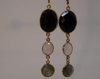 Earrings Onyx Rose Quartz, Labradorite