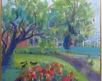 "Small landscape painting, original watercolour gouache, ""Ducks in the Garden"""