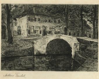 "ARTHUR FEUDEL (Dutch/American, 1857-1929), ""Regensburg"", 1905, original etching, pencil signed"