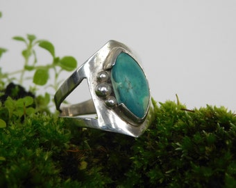silver ring 950 and turquoise