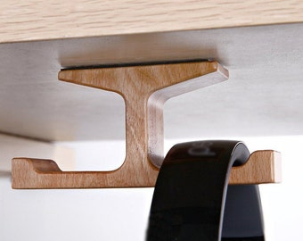 Wooden Dual Mount Headphone Stand Adhesive Hooks Under Desk Hanger Home Office