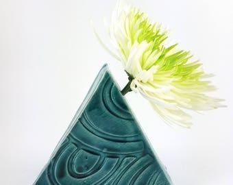 Ceramic Blue Triangular Bud Vase with Wave Pattern, Handmade Bud Vase