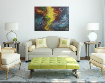"""original acrylic canvas, abstract painting warm color by esti 40""""*27"""""""