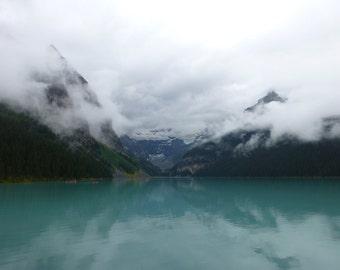 Lake Louise, Banff National Park, Canada, Canvas or Photo Print, Lake, Mountains, Clouds, Wall Art