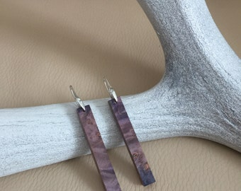 Maple Burl Wood Pendant Earrings with Sterling Silver Ear Wire