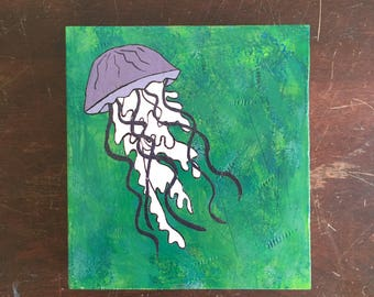 Small original illustrated jellyfish gouache painting on recycled wood