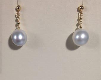 South Sea Pearl,14k yellow solid gold Earrings, 14k Gold Earrings, Dangle earrings, South Sea Pearl Earrings, Drop Earrings.