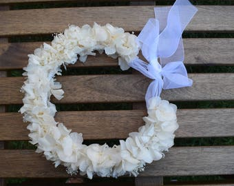 Crown preserved hydrangeas white girls | Preserved floral headcrown in white for girls