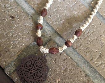 Wooden hemp necklace