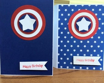 superhero birthday/thank you cards exclamation set of six superhero cards/greeting card/hand made thank you card/kids/boy girl.