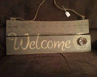 Reclaimed wood plaque hand painted