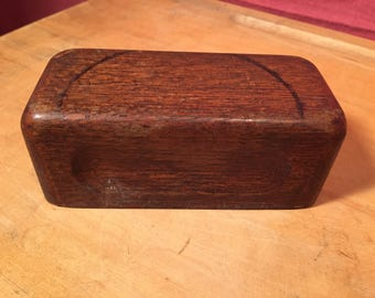 Vintage Retro Weird Block of Weighted Wood Paperweight