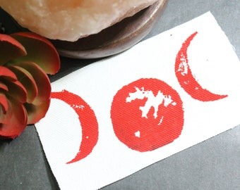 3 Blood Moons on White. Blood Moon Lunar Phase. Crescent Moons. Moon Punk Patch. Occult Patch.