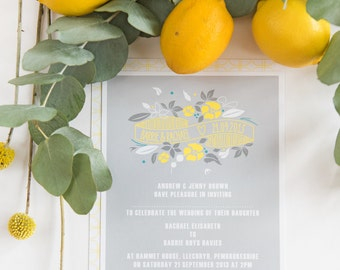 Zest | Wedding Invitations | Sample Pack | Modern Wedding Stationery | Floral Stamp | Contemporary Wedding Invites