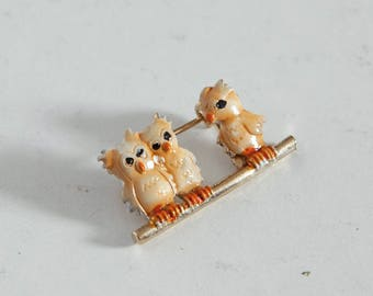 vintage 70s owl brooch girls pin
