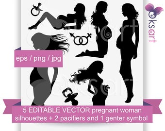Vector pregnant woman silhouettes set. Digital clip art, editable, illustration. Instant download.