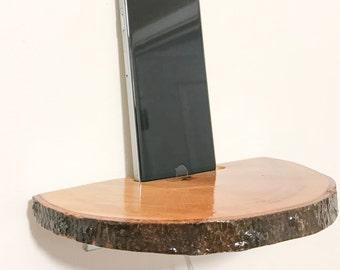 Live Edge, Rustic Home Decor, Wood Shelf, Docking Station, Smartphone Shelf, iPhone Wall Shelf, Outlet Shelf, Phone Dock, Phone Shelf