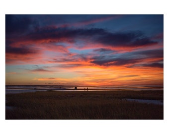 Sunset at Skaket Beach on Cape Cod Bay. Fine Art Print. Wall Art